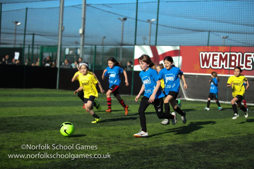 Girls Show Off Their Skills at School Games Football Finals